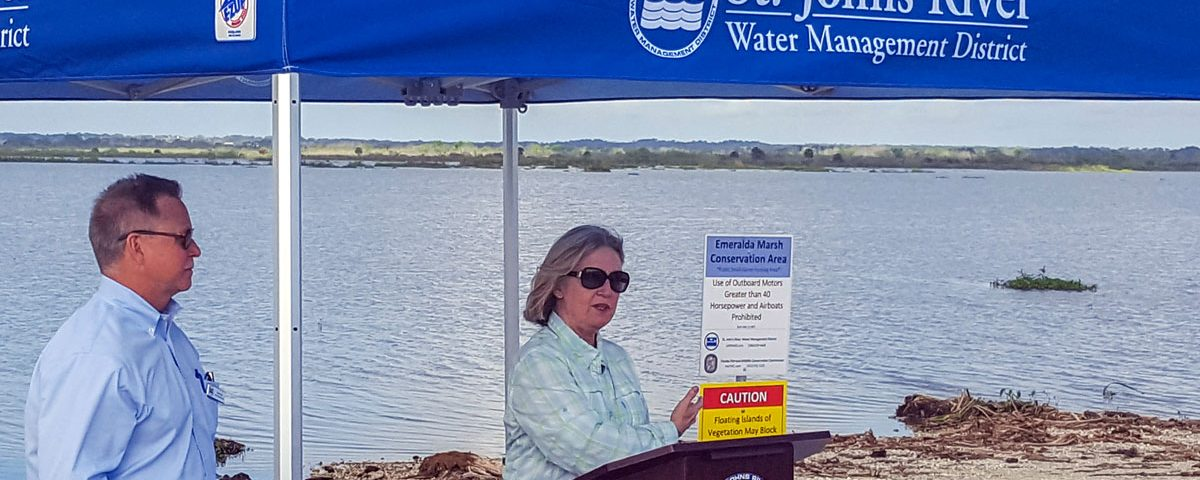 Dr. Ann Shortelle and Chuck Drake at an Emeralda Marsh Enhancement Project Event