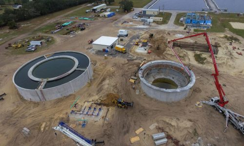 Aerial of the Eustis Waste Water Treatment Plant under construction