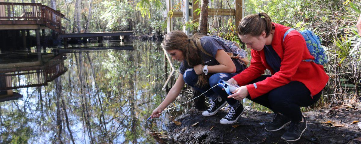 Students testing water at Julington Creek