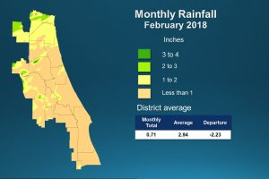 Map of monthly rainfall for February 2018