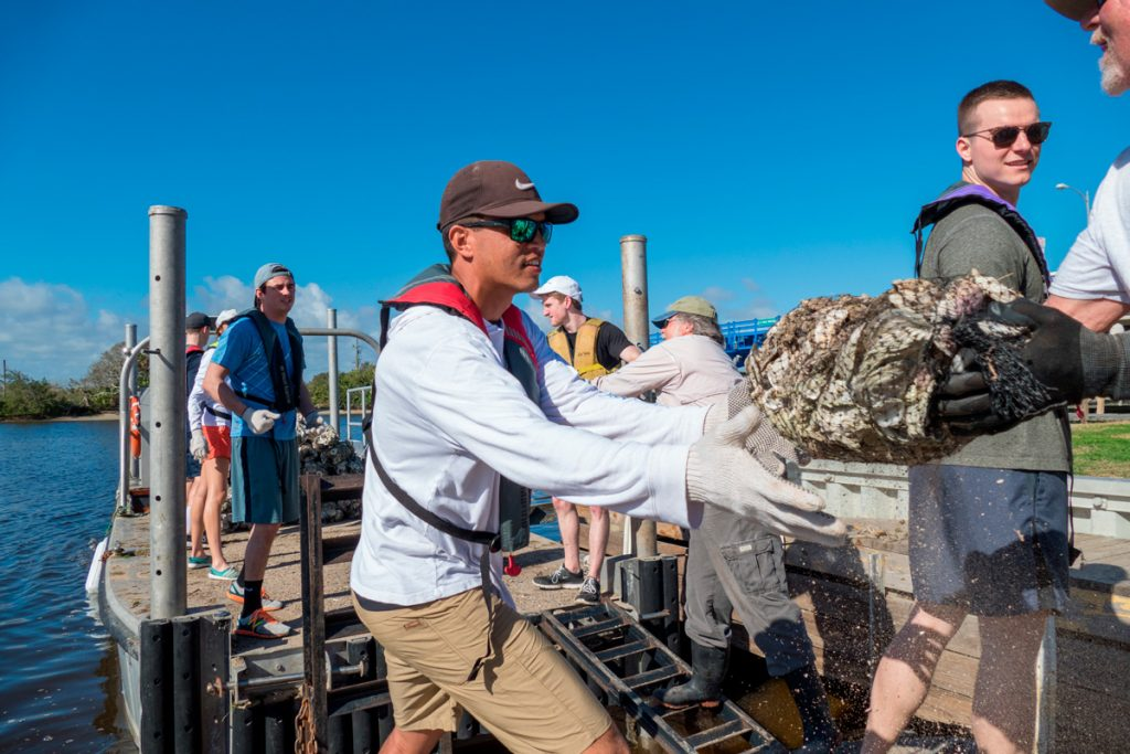 Volunteers loading bags of oyster shells on a barge