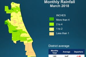 Map of monthly rainfall for March 2018