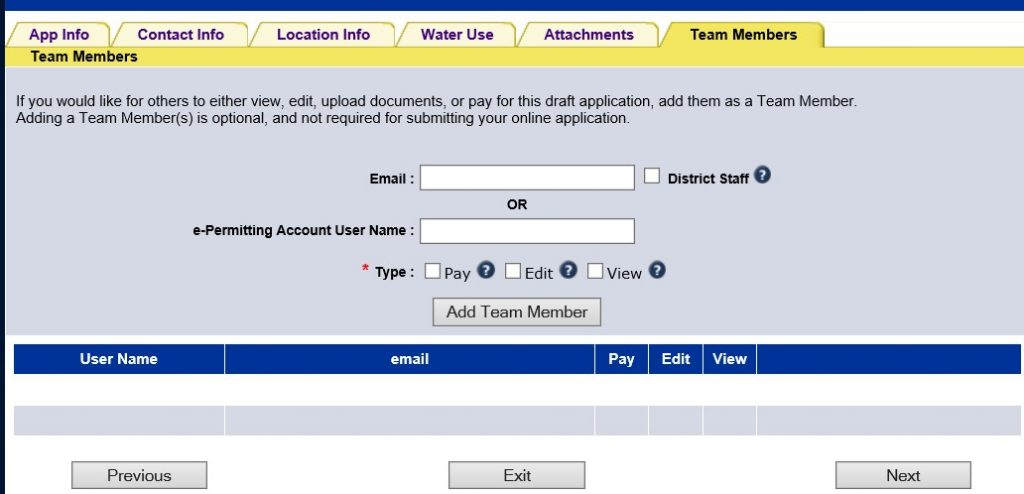 Screen capture of tem members tab of the permitting application