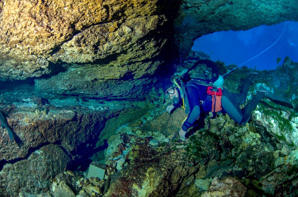 Scuba diver swimming in the Mammoth Spring cave