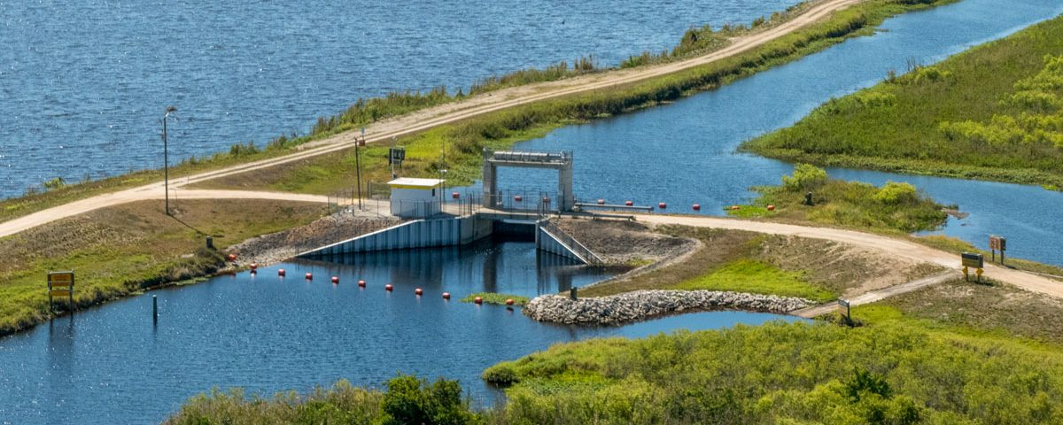 Aerial of a water control structure in the upper St. Johns River Basin