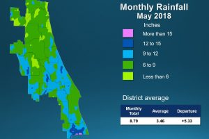 Map of monthly rainfall for May 2018