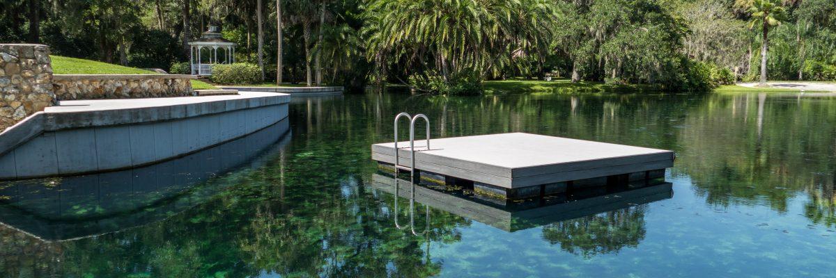Floating swimming platform at Sanlando Springs