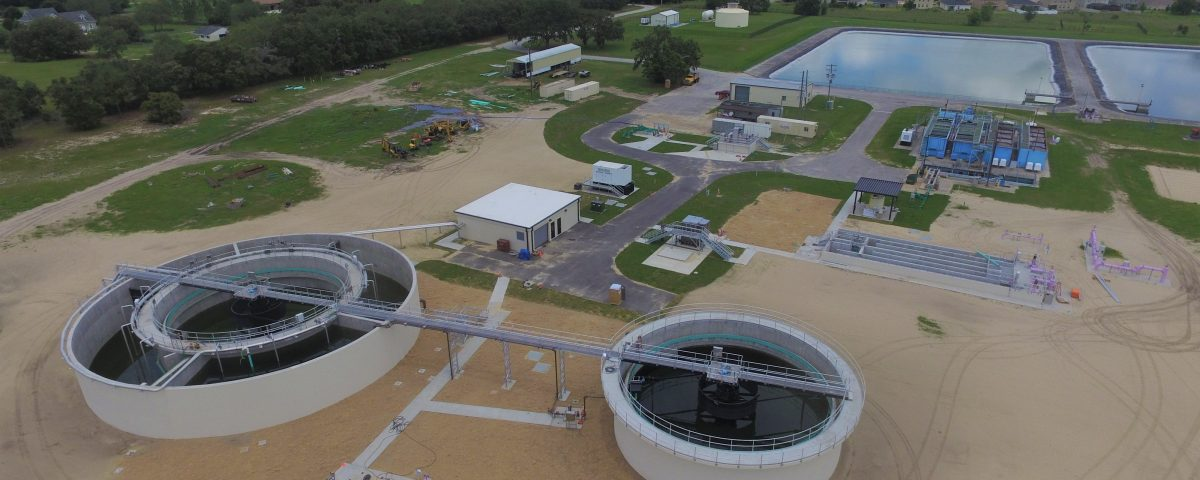 Aerial of a wastewater treatment plant