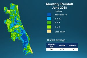 Map of monthly rainfall for June 2018