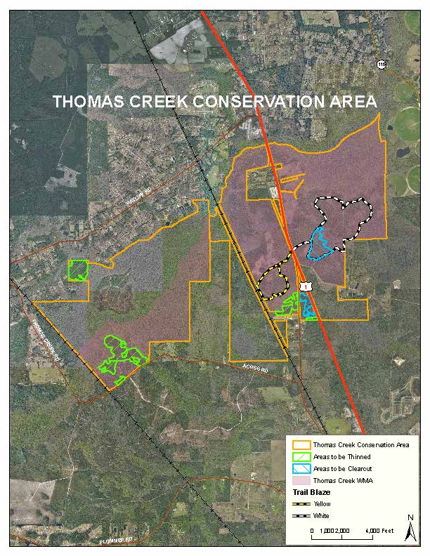 Map of timber operations in 2018 at Thomas Creek Conservation Area