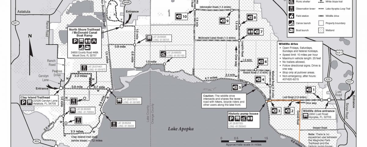 Lake Apopka North Shore map with trail detour indicated