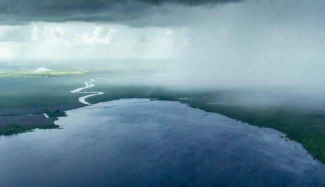 Rain storm over Lake Washington