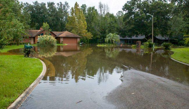 A flooded neighborhood cul-de-sac