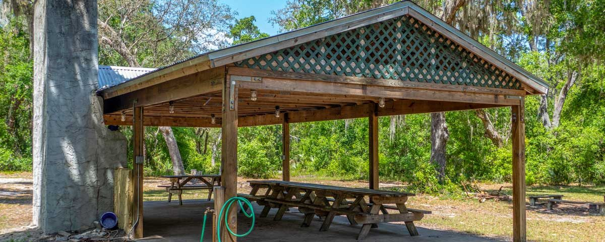 Large picnic shelter at the Crescent Lake Conservation Area group camp site