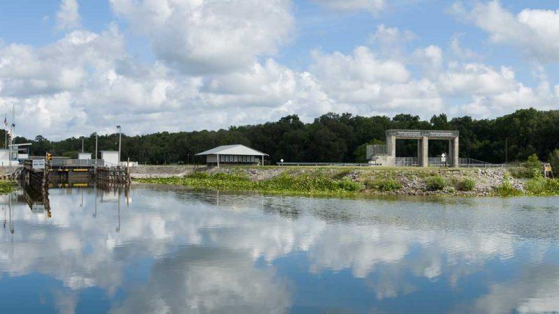The Moss Bluff Lock provides navigational access along the Ocklawaha River.