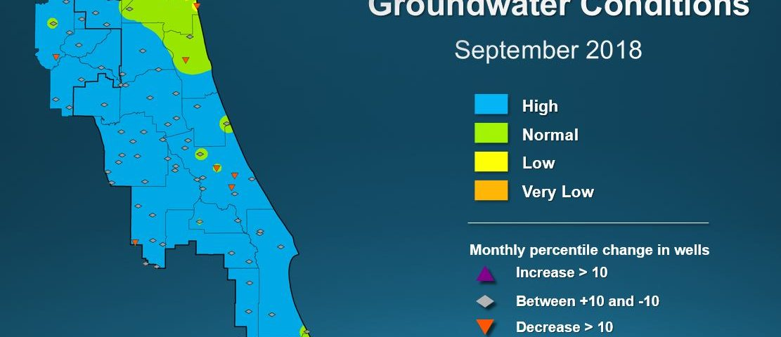 Map illustrating groundwater conditions across the St. Johns River Water Management District