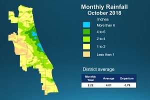 Map of monthly rainfall for October 2018