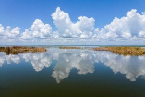Clouds reflecting in the waters of Lake Apopka