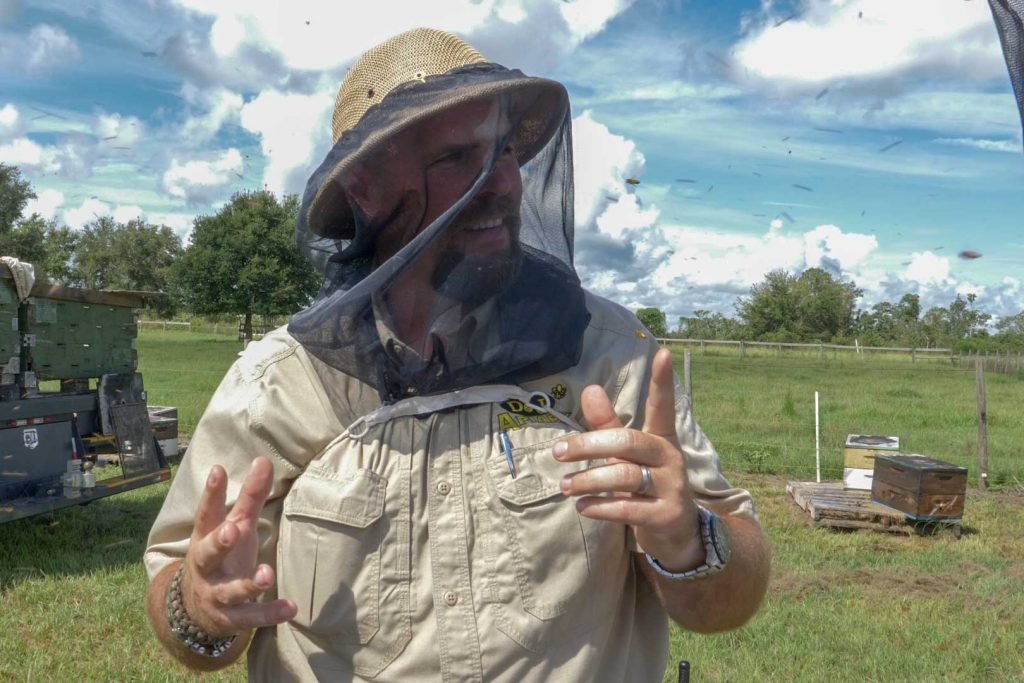 Man in bee keeper protective gear