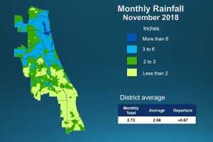 Map of monthly rainfall for November 2018