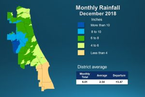 Map of monthly rainfall for December 2018