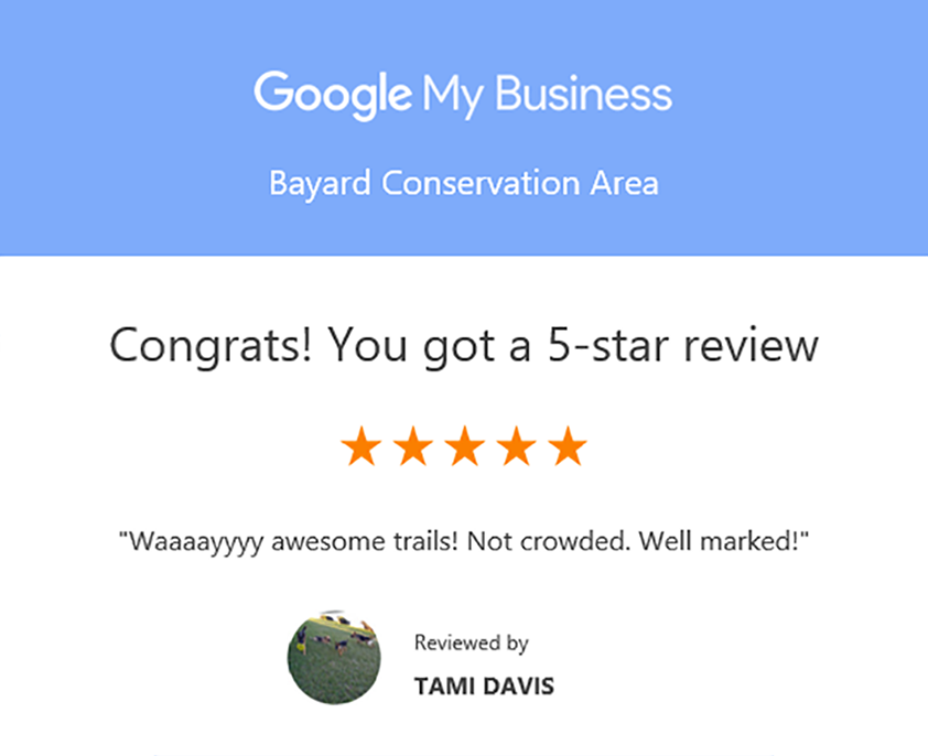 Google my business review for Bayard Conservation Area