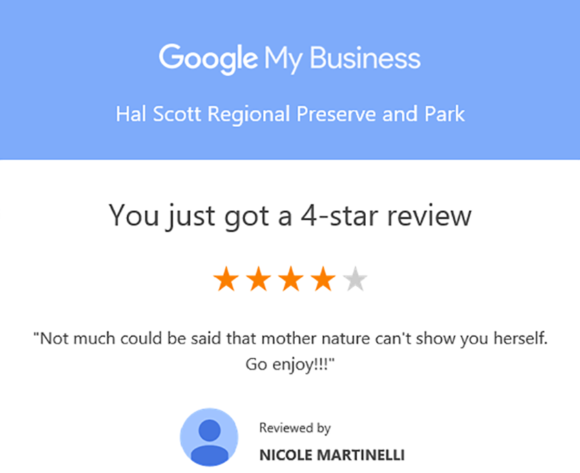 Google my business review for Hal Scott Regional Preserve and Park
