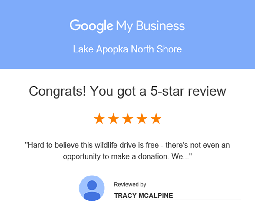 Google My Business review for Lake Apopka North Shore