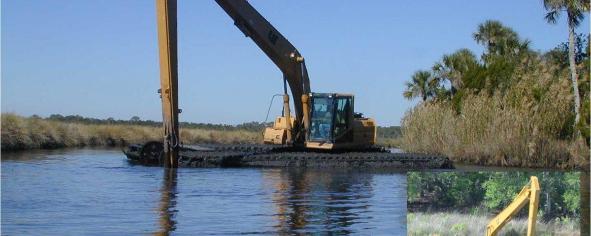 Excavator at dragline ditch restoration project