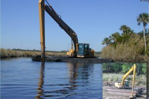Excavator at dragline ditch restoration project