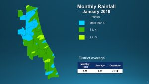 A map illustrates rainfall conditions in January 2019 districtwide.