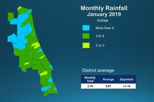 Map of monthly rainfall for January 2019