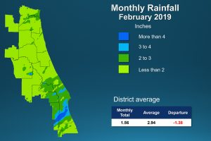 Map of monthly rainfall for February 2019