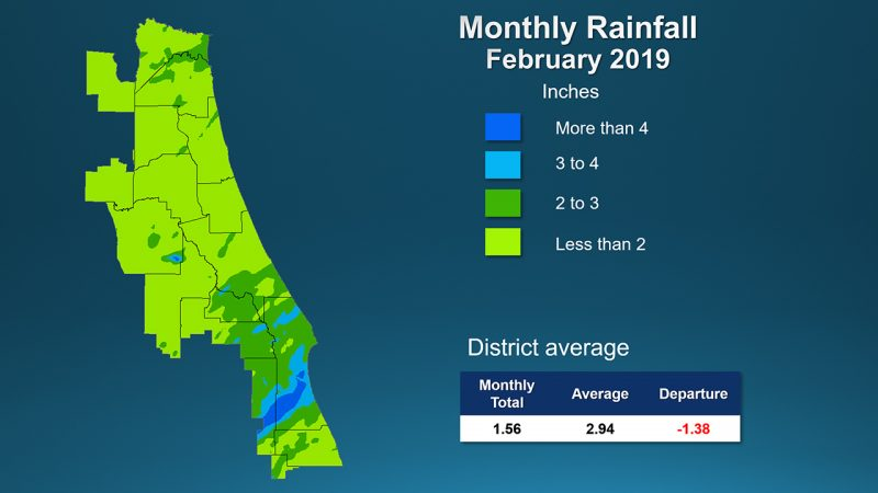 A map with color indicators for the amount of rainfall