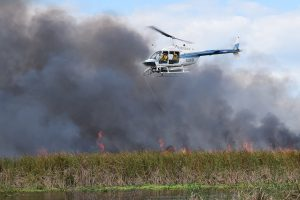 A helicopter flying over a marsh that is on fire