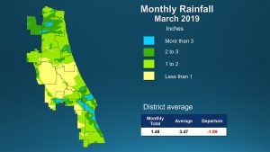 Color coded map showing rainfall amount in March