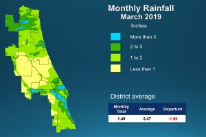 Color coded map showing rainfall amount in March 2019