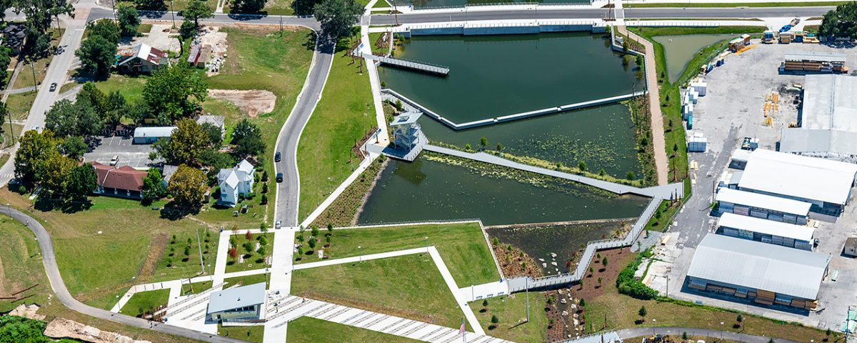 Aerial photo of the Victory Pointe Stormwater Park