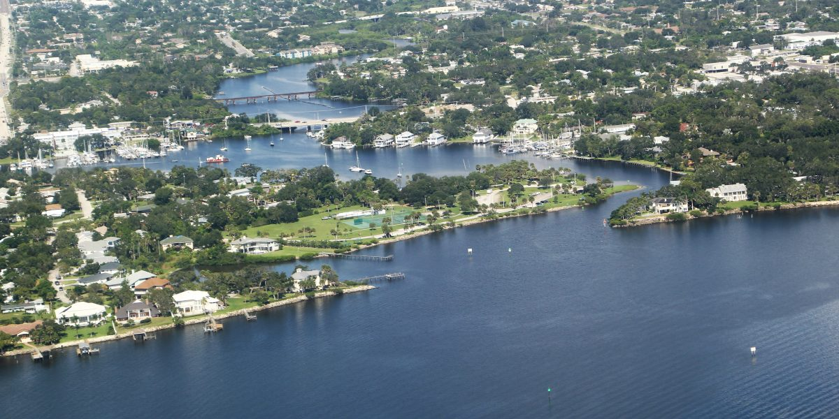 Aerial photo Eau Gallie River flowing into the Indian River Lagoon