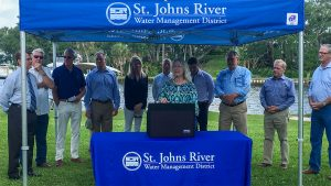 Dr. Ann Shortelle speaking at the Eau Gallie River dredging event