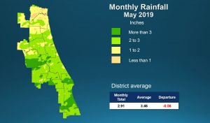 Map of monthly rainfall for May 2019