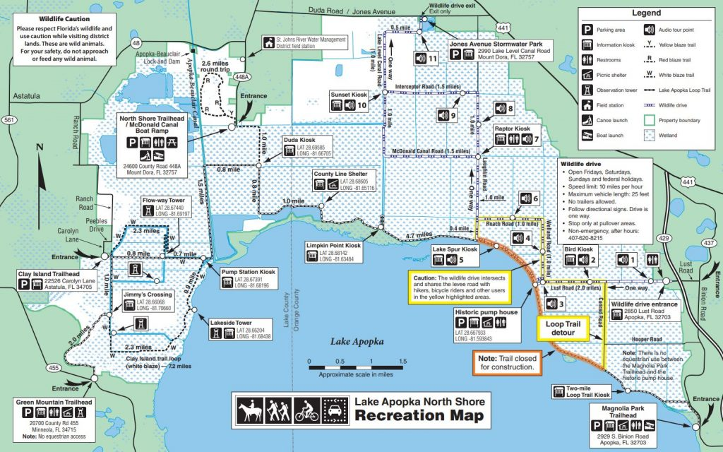 Map of construction phases on the Lake Apopka North Shore Trail