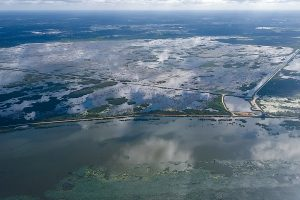 An aerial image shows recent water levels at the Lake Apopka North Shore