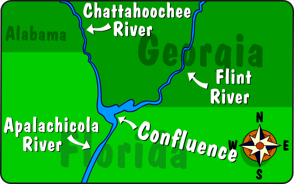 Illustration of the Apalachicola River confluence
