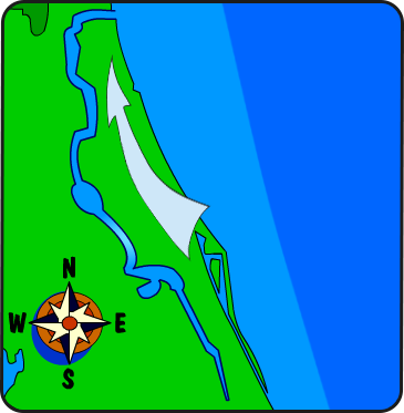 Illustration of the St. Johns River flowing north-ward