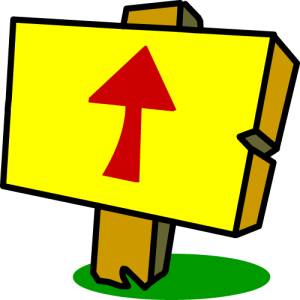 Illustration of sign with an arrow pointing upward