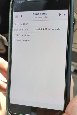 Phone screen with Condition data on it