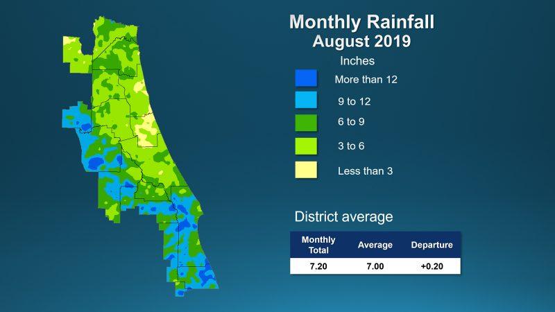 Illustrated rainfall map of Florida