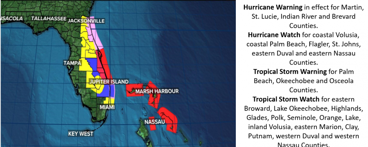 Map showing hurricane warnings and watches in Florida