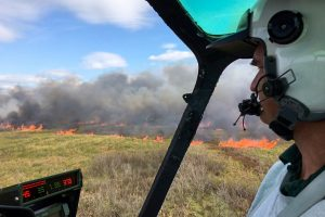 Person in helicopter looking at a fire burning in a marsh